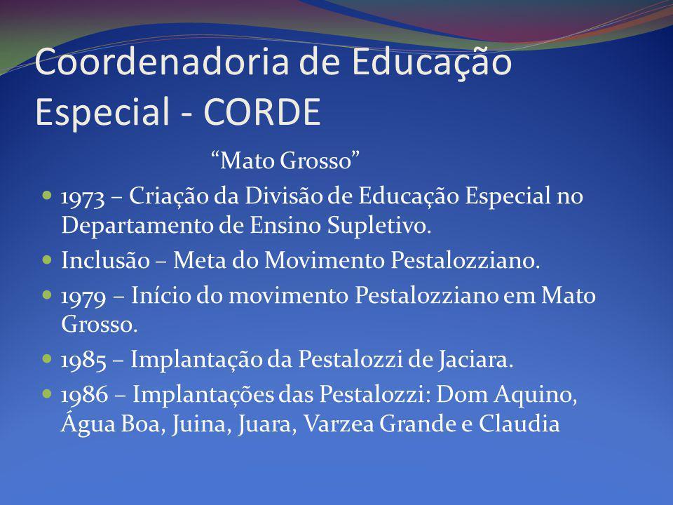Coordenadoria de Educação Especial - CORDE Mato Grosso 1973 – Criação da Divisão de Educação Especial no Departamento de Ensino Supletivo.
