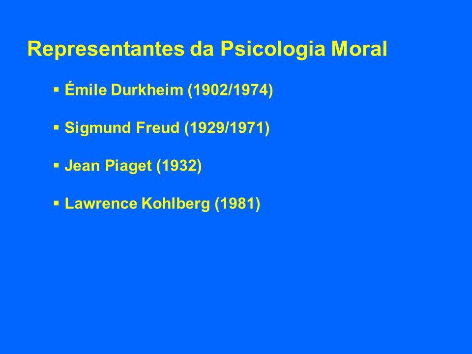 Representantes da Psicologia Moral Émile Durkheim (1902/1974) Sigmund Freud (1929/1971) Jean Piaget (1932) Lawrence Kohlberg (1981)