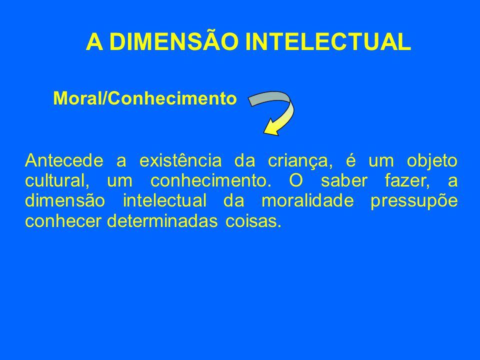 A DIMENSÃO INTELECTUAL Antecede a existência da criança, é um objeto cultural, um conhecimento. O saber fazer, a dimensão intelectual da moralidade pr