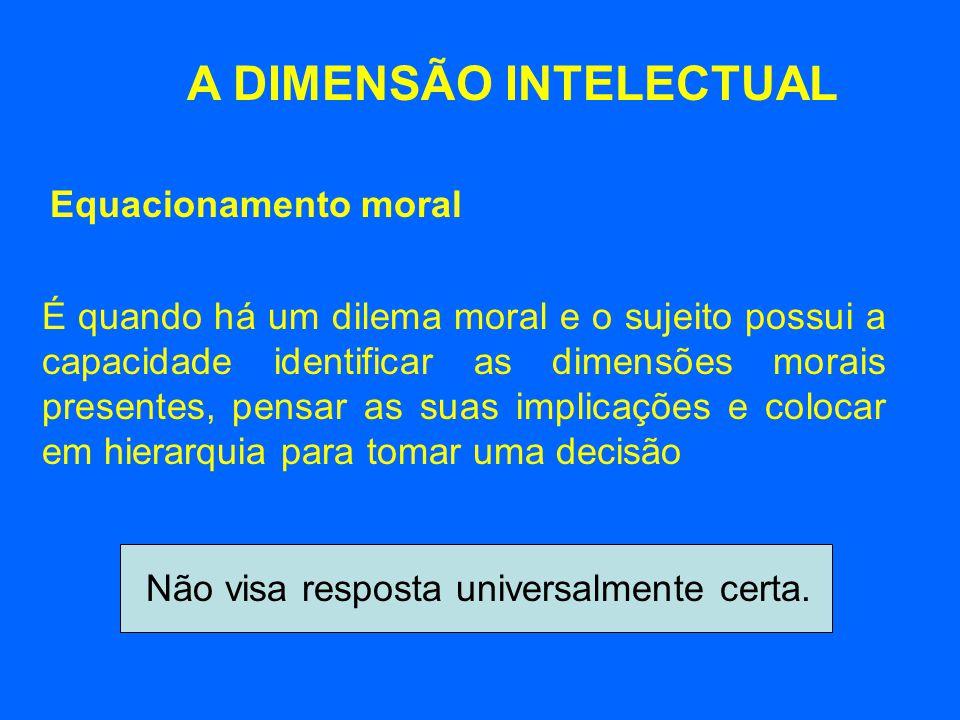 A DIMENSÃO INTELECTUAL É quando há um dilema moral e o sujeito possui a capacidade identificar as dimensões morais presentes, pensar as suas implicaçõ