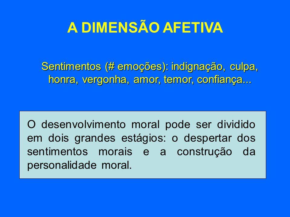A DIMENSÃO AFETIVA Sentimentos (# emoções): indignação, culpa, honra, vergonha, amor, temor, confiança... O desenvolvimento moral pode ser dividido em