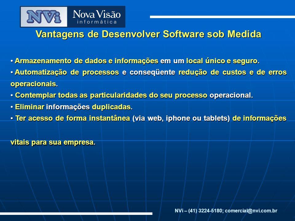 Vantagens de Desenvolver Software sob Medida Armazenamento de dados e informações em um local único e seguro. Armazenamento de dados e informações em
