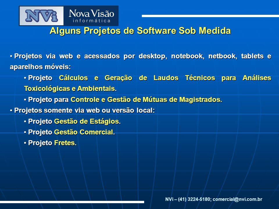 Alguns Projetos de Software Sob Medida Projetos via web e acessados por desktop, notebook, netbook, tablets e aparelhos móveis: Projetos via web e ace