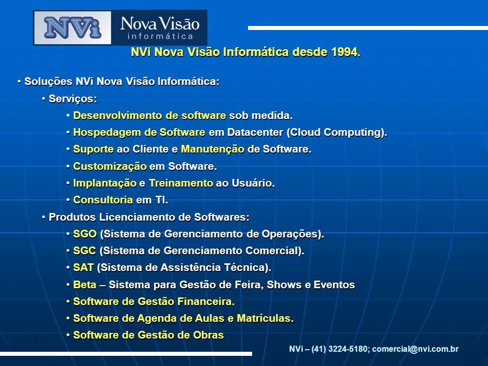 NVi Nova Visão Informática desde 1994. Soluções NVi Nova Visão Informática: Soluções NVi Nova Visão Informática: Serviços: Serviços: Desenvolvimento d