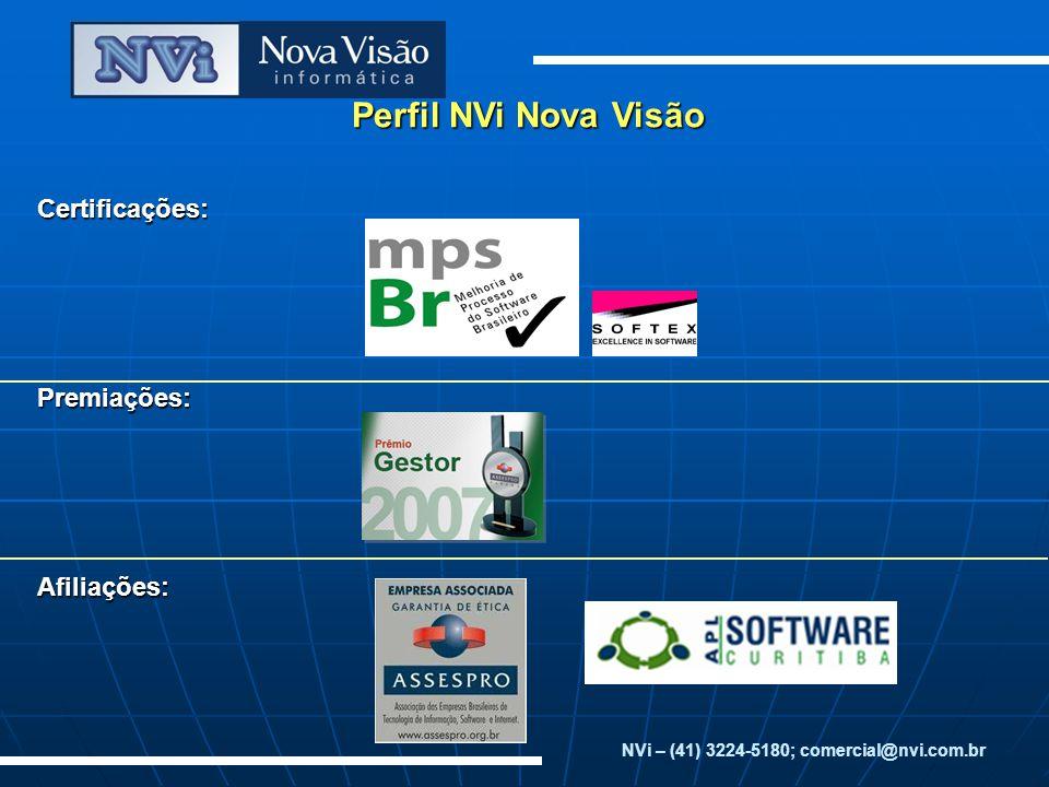 Perfil NVi Nova Visão Certificações:Premiações:Afiliações: NVi – (41) 3224-5180; comercial@nvi.com.br