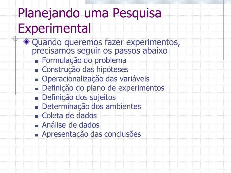 Planejando uma Pesquisa Experimental Quando queremos fazer experimentos, precisamos seguir os passos abaixo Formulação do problema Construção das hipó