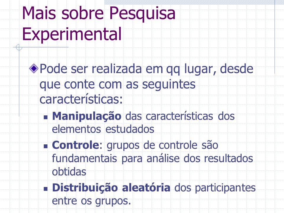 Mais sobre Pesquisa Experimental Pode ser realizada em qq lugar, desde que conte com as seguintes características: Manipulação das características dos
