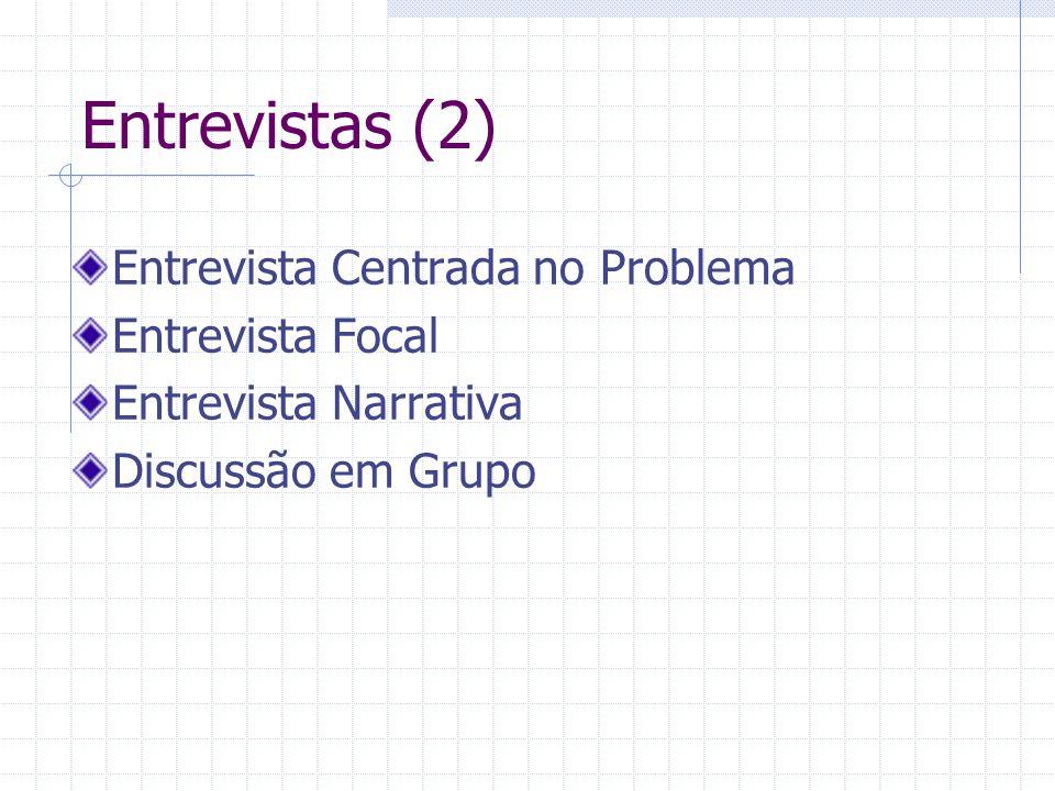Entrevistas (2) Entrevista Centrada no Problema Entrevista Focal Entrevista Narrativa Discussão em Grupo