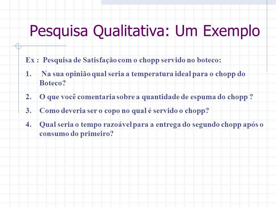 Pesquisa Qualitativa: Um Exemplo Ex : Pesquisa de Satisfação com o chopp servido no boteco: 1. Na sua opinião qual seria a temperatura ideal para o ch