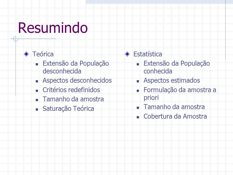 Resumindo Teórica Extensão da População desconhecida Aspectos desconhecidos Critérios redefinidos Tamanho da amostra Saturação Teórica Estatística Extensão da População conhecida Aspectos estimados Formulação da amostra a priori Tamanho da amostra Cobertura da Amostra