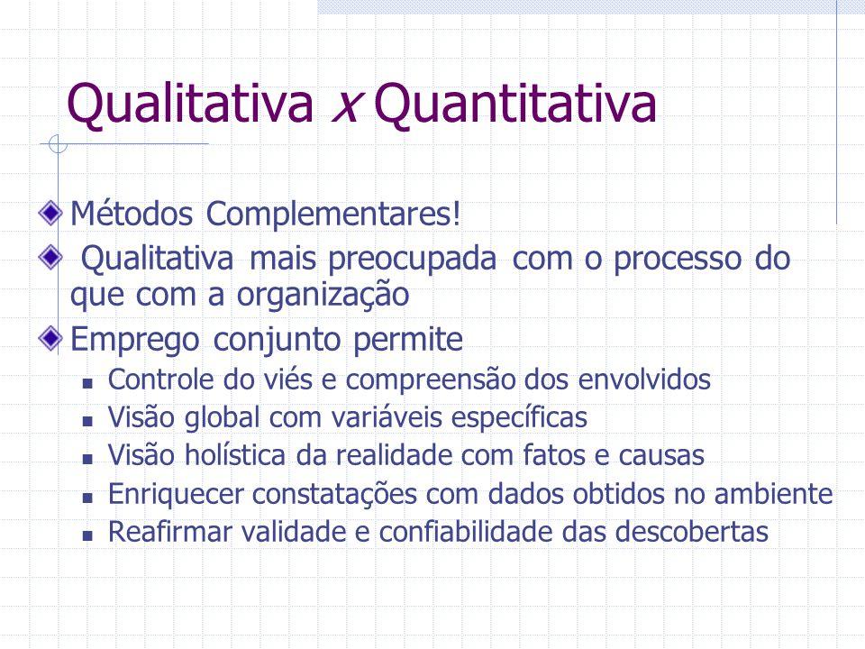 Qualitativa x Quantitativa Métodos Complementares! Qualitativa mais preocupada com o processo do que com a organização Emprego conjunto permite Contro