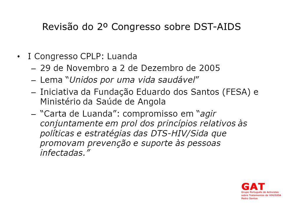 Revisão do 2º Congresso sobre DST-AIDS II Congresso CPLP: Rio de Janeiro – 14 a 17 de Abril de 2008 – Promovido pela FIOCRUZ do Brasil e pela Fundação Eduardo dos Santos – Temas clínicos, epidemiológicos, sociais, ARVs, prevenção, co-infecções, vacinas – Delegação Portuguesa com 2 representantes do FNSC – Carta do Rio de Janeiro – Criação da Rede+PLP