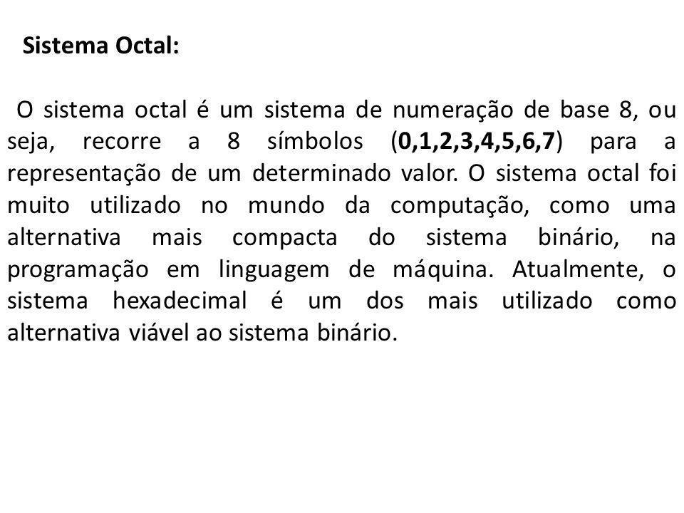 Sistema Octal: O sistema octal é um sistema de numeração de base 8, ou seja, recorre a 8 símbolos (0,1,2,3,4,5,6,7) para a representação de um determi
