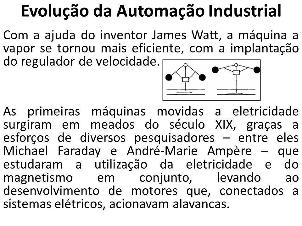 Evolução da Automação Industrial Com a ajuda do inventor James Watt, a máquina a vapor se tornou mais eficiente, com a implantação do regulador de vel