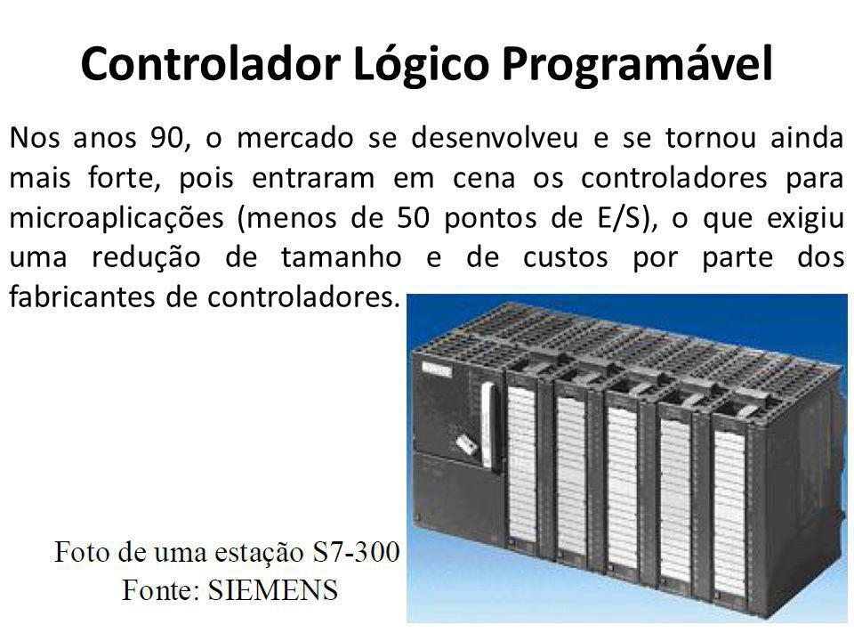Controlador Lógico Programável Nos anos 90, o mercado se desenvolveu e se tornou ainda mais forte, pois entraram em cena os controladores para microap
