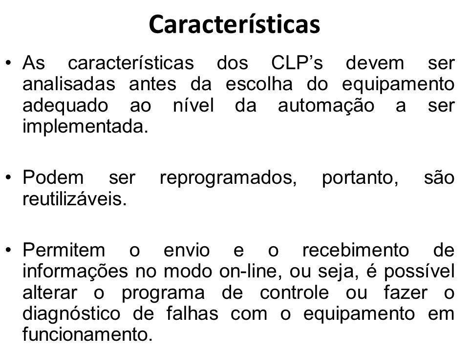 Características As características dos CLPs devem ser analisadas antes da escolha do equipamento adequado ao nível da automação a ser implementada. Po