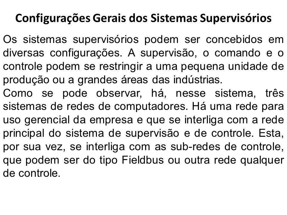 Configurações Gerais dos Sistemas Supervisórios Os sistemas supervisórios podem ser concebidos em diversas configurações. A supervisão, o comando e o