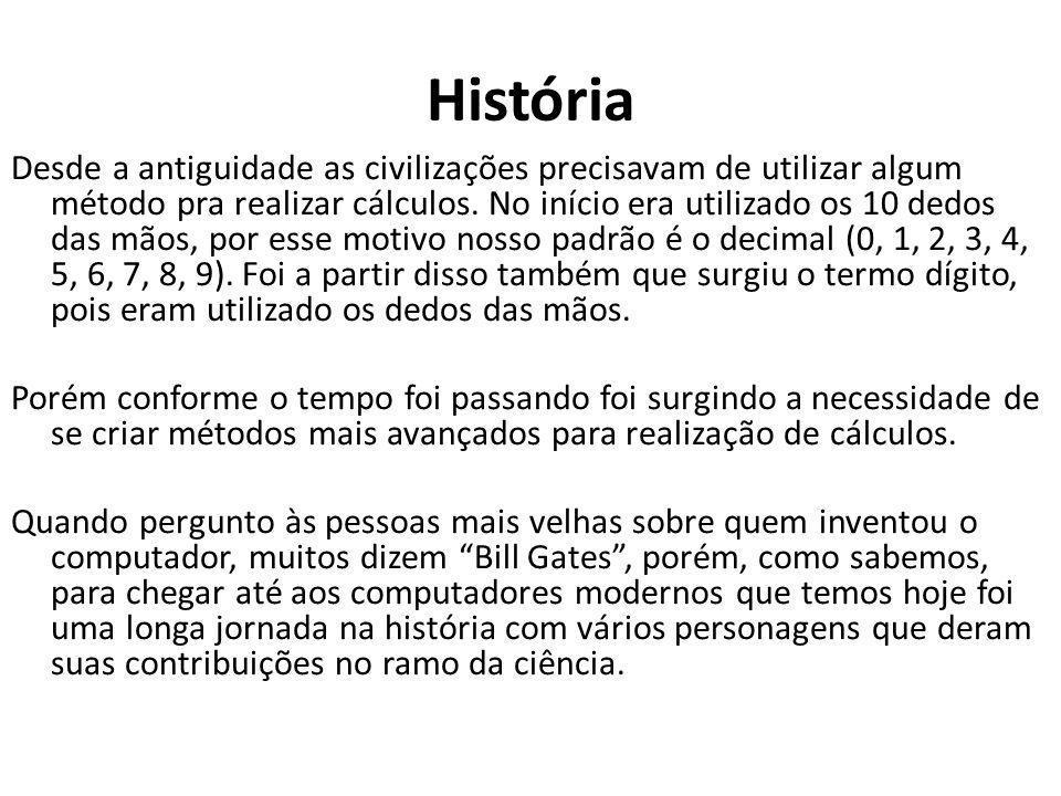 História Desde a antiguidade as civilizações precisavam de utilizar algum método pra realizar cálculos. No início era utilizado os 10 dedos das mãos,
