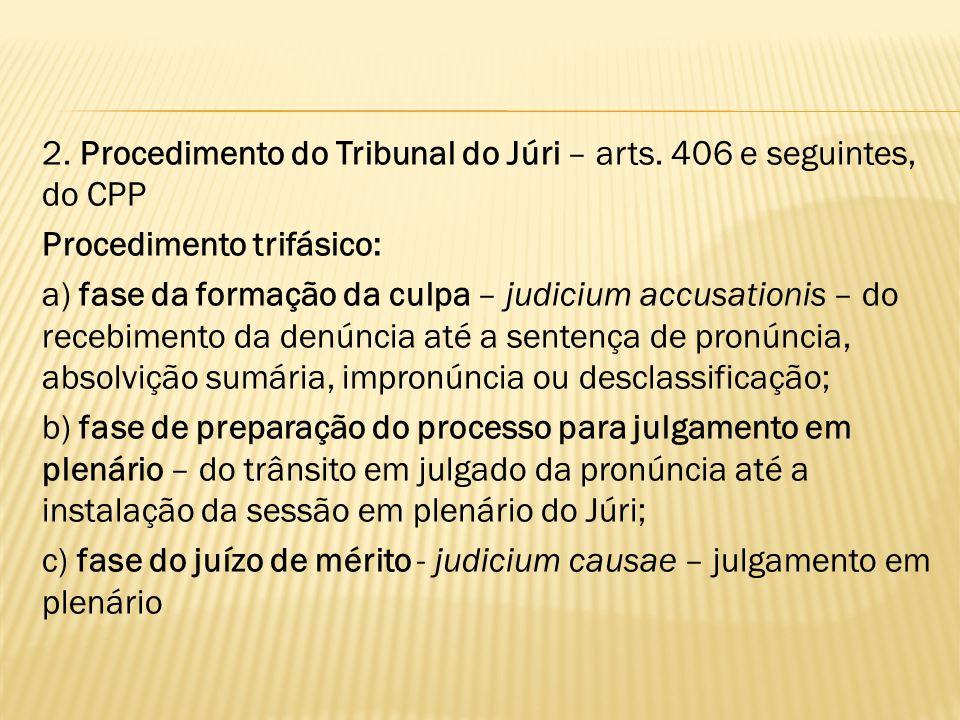 2. Procedimento do Tribunal do Júri – arts. 406 e seguintes, do CPP Procedimento trifásico: a) fase da formação da culpa – judicium accusationis – do
