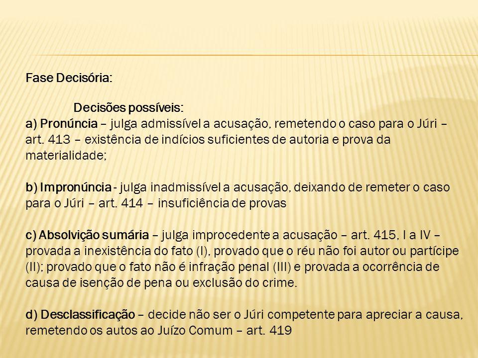 Fase Decisória: Decisões possíveis: a) Pronúncia – julga admissível a acusação, remetendo o caso para o Júri – art. 413 – existência de indícios sufic