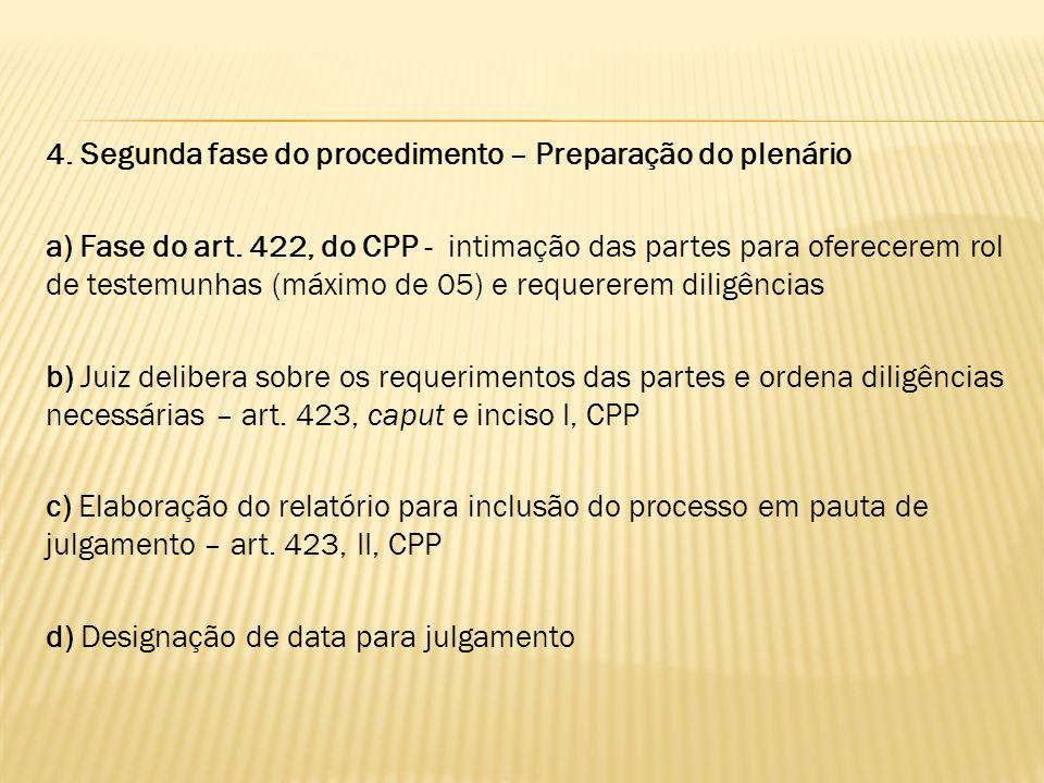 4. Segunda fase do procedimento – Preparação do plenário a) Fase do art. 422, do CPP - intimação das partes para oferecerem rol de testemunhas (máximo