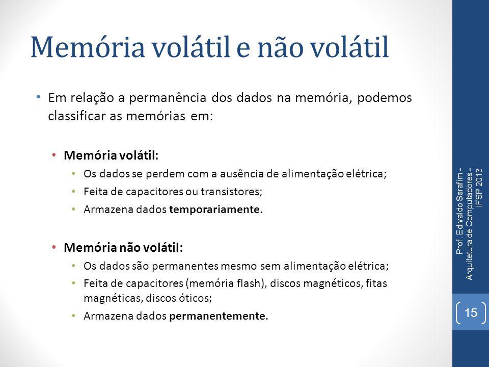 Memória volátil e não volátil Em relação a permanência dos dados na memória, podemos classificar as memórias em: Memória volátil: Os dados se perdem c