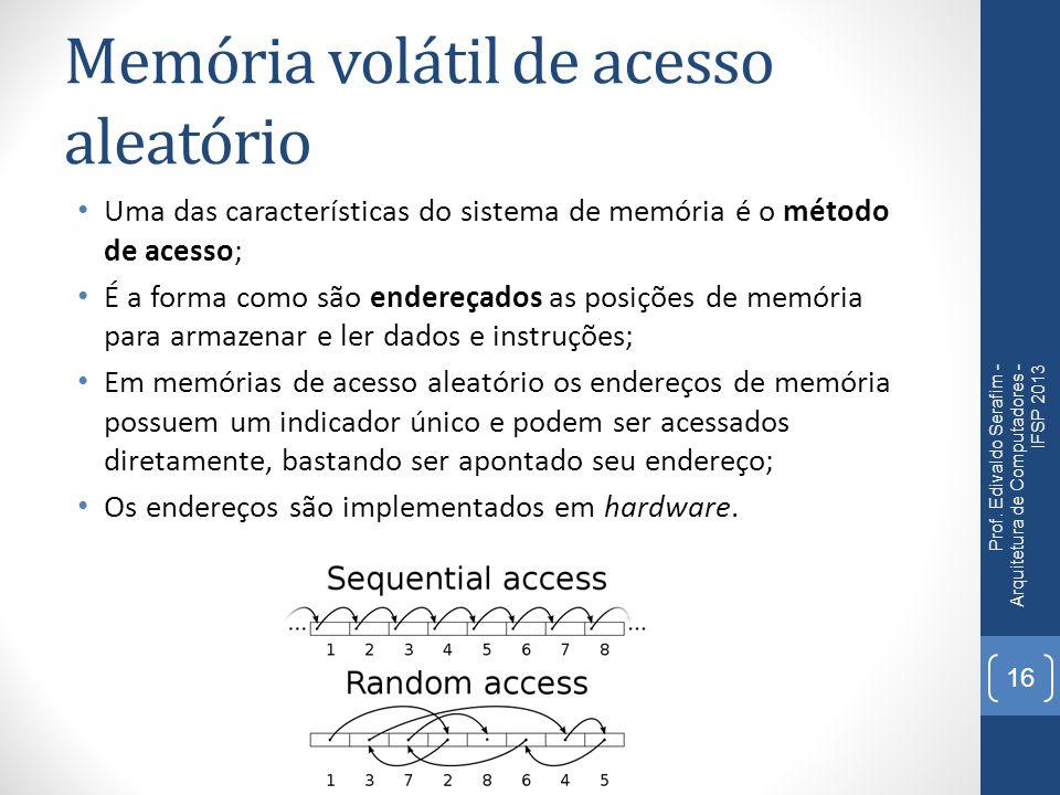 Memória volátil de acesso aleatório Uma das características do sistema de memória é o método de acesso; É a forma como são endereçados as posições de