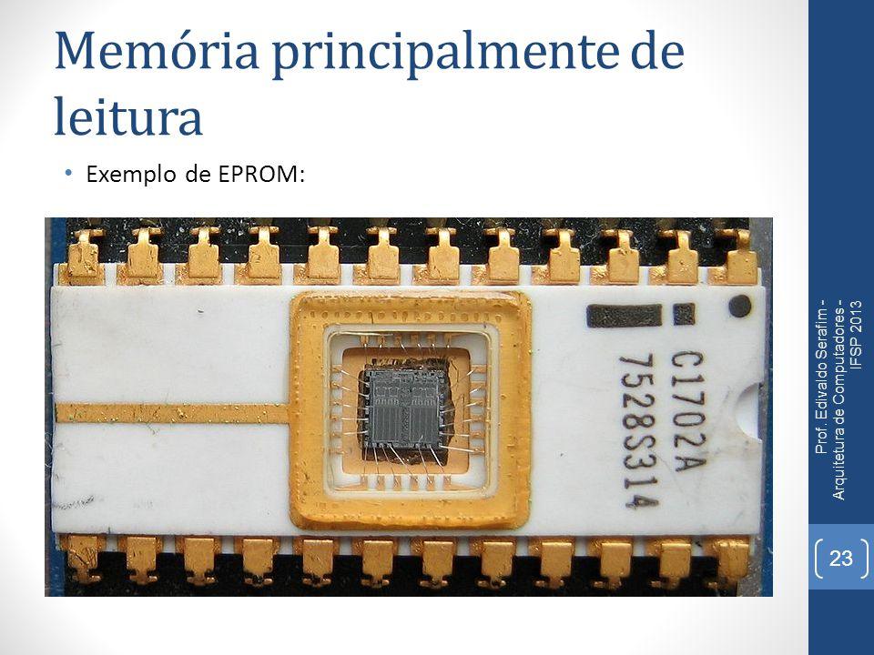 Memória principalmente de leitura Exemplo de EPROM: Prof. Edivaldo Serafim - Arquitetura de Computadores - IFSP 2013 23