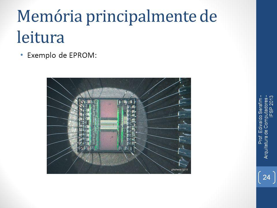 Memória principalmente de leitura Exemplo de EPROM: Prof. Edivaldo Serafim - Arquitetura de Computadores - IFSP 2013 24