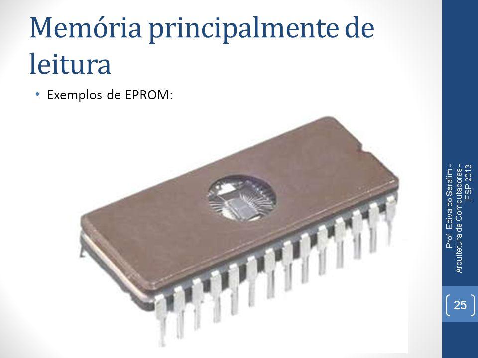 Memória principalmente de leitura Exemplos de EPROM: Prof. Edivaldo Serafim - Arquitetura de Computadores - IFSP 2013 25