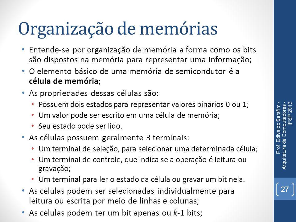 Organização de memórias Entende-se por organização de memória a forma como os bits são dispostos na memória para representar uma informação; O element