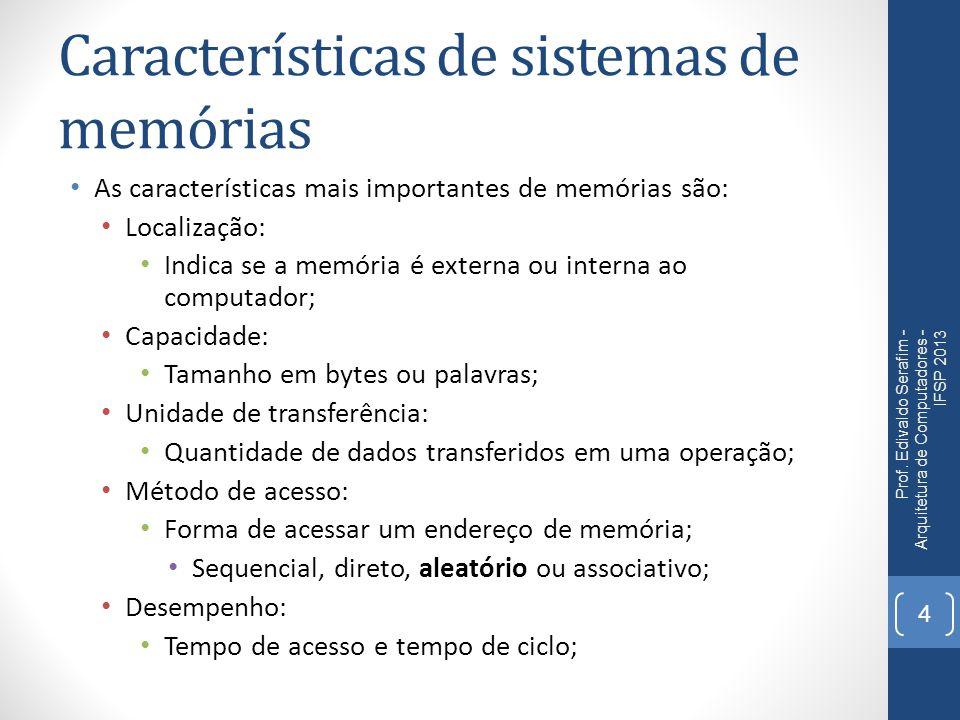 Características de sistemas de memórias As características mais importantes de memórias são: Localização: Indica se a memória é externa ou interna ao