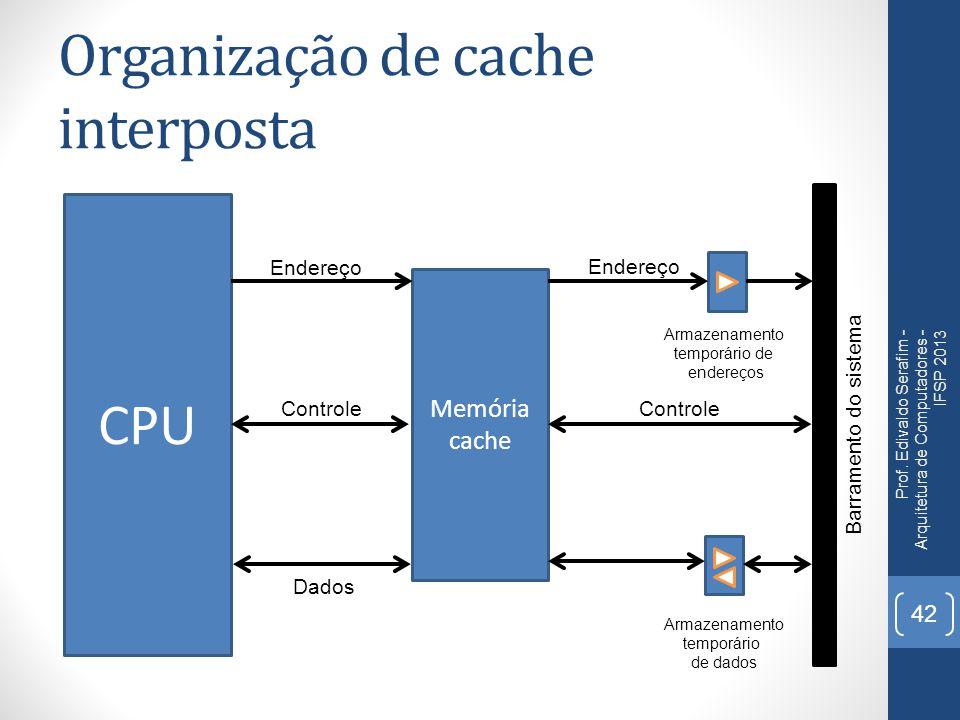 Organização de cache interposta Prof. Edivaldo Serafim - Arquitetura de Computadores - IFSP 2013 42 CPU Memória cache Barramento do sistema Controle D