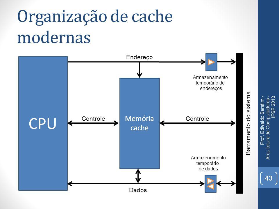Organização de cache modernas Prof. Edivaldo Serafim - Arquitetura de Computadores - IFSP 2013 43 CPU Memória cache Barramento do sistema Controle End