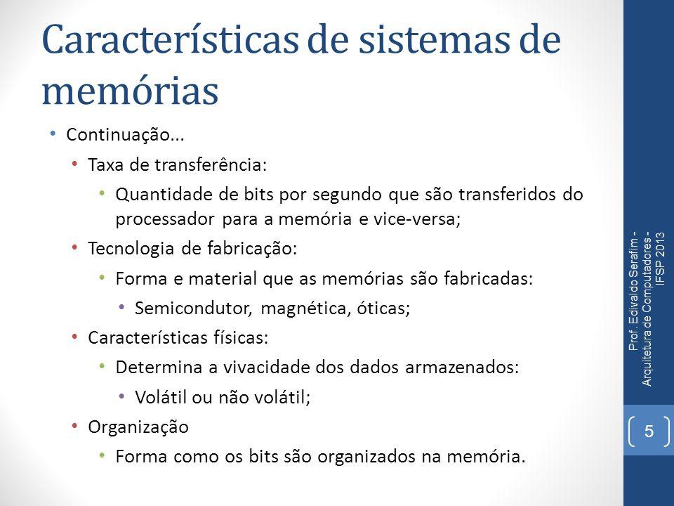 Características de sistemas de memórias Continuação... Taxa de transferência: Quantidade de bits por segundo que são transferidos do processador para