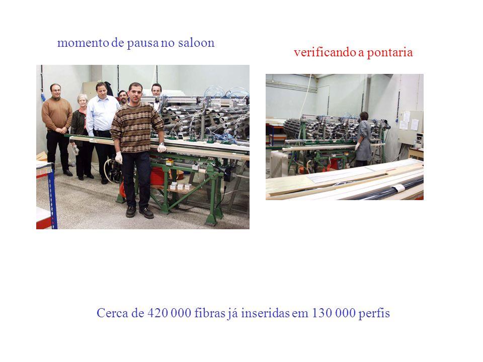 momento de pausa no saloon verificando a pontaria Cerca de 420 000 fibras já inseridas em 130 000 perfis