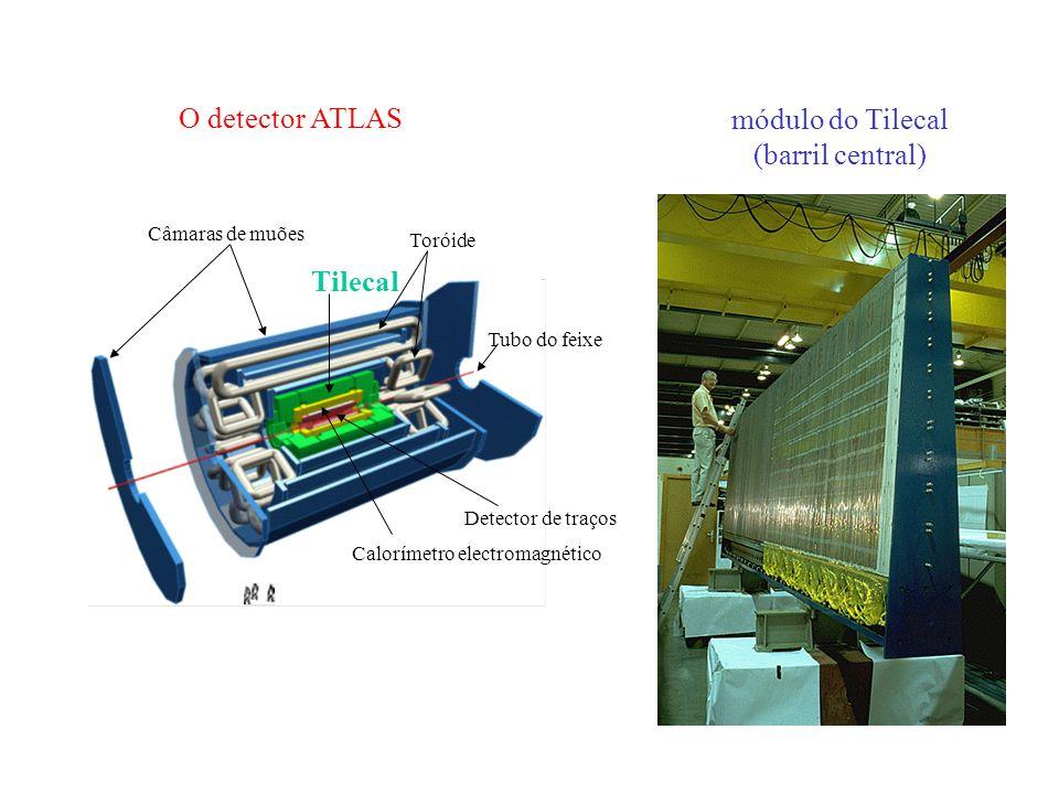 Câmaras de muões Toróide Tilecal Detector de traços Calorímetro electromagnético Tubo do feixe O detector ATLAS módulo do Tilecal (barril central)