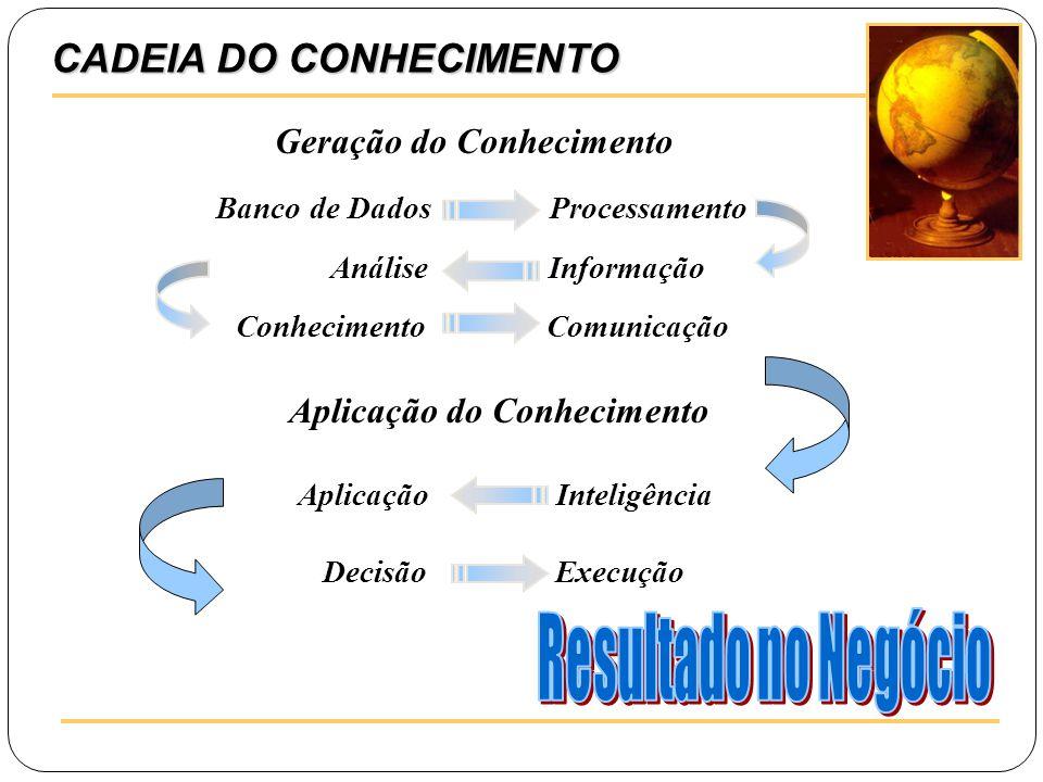 CADEIA DO CONHECIMENTO Geração do Conhecimento Banco de Dados Processamento Análise Informação Conhecimento Comunicação Aplicação Inteligência Decisão