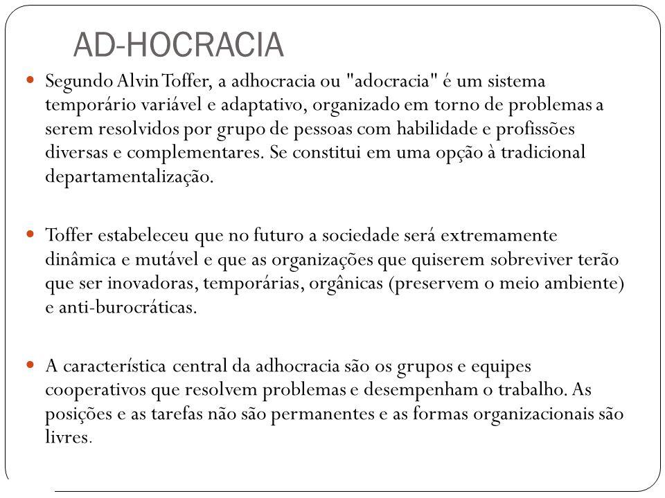 AD-HOCRACIA 9 Segundo Alvin Toffer, a adhocracia ou