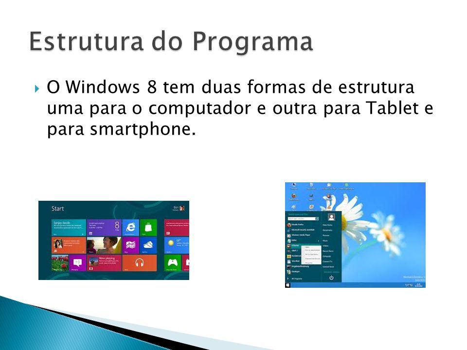 O Windows 8 tem duas formas de estrutura uma para o computador e outra para Tablet e para smartphone.