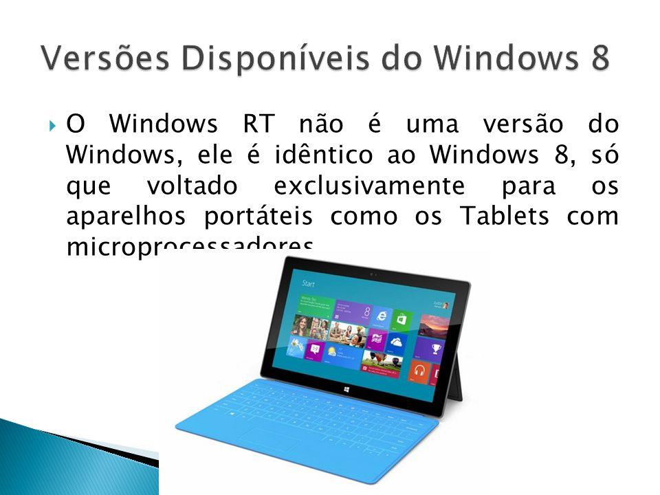 O Windows RT não é uma versão do Windows, ele é idêntico ao Windows 8, só que voltado exclusivamente para os aparelhos portáteis como os Tablets com m