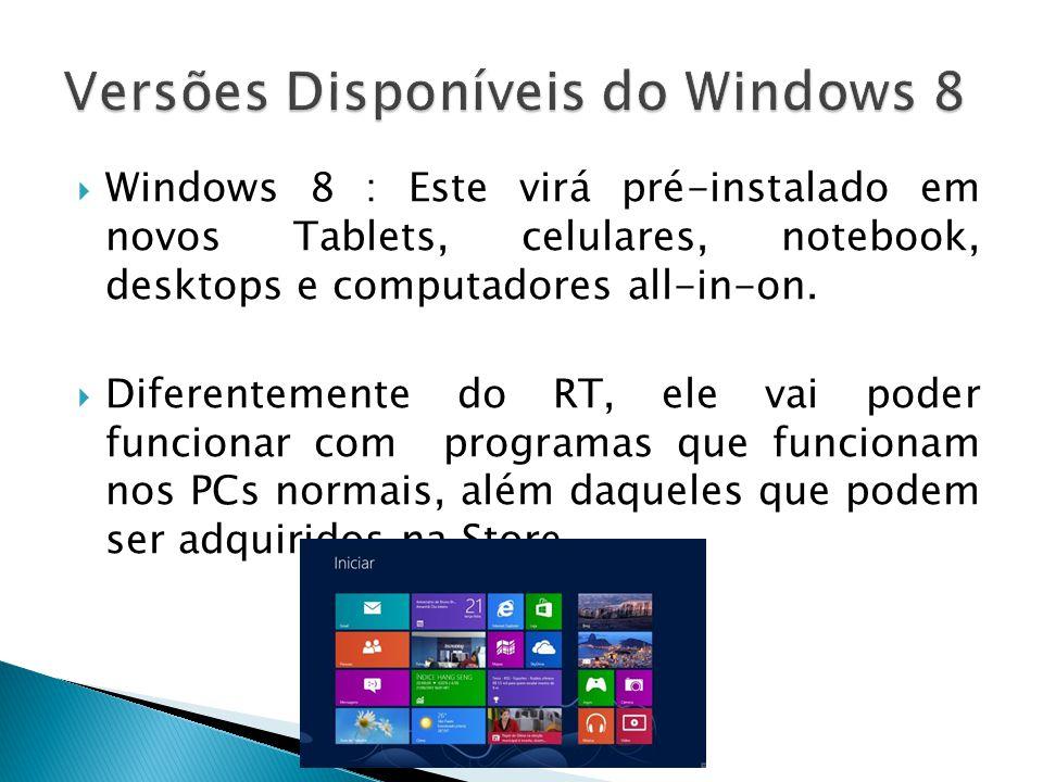 Windows 8 : Este virá pré-instalado em novos Tablets, celulares, notebook, desktops e computadores all-in-on. Diferentemente do RT, ele vai poder func