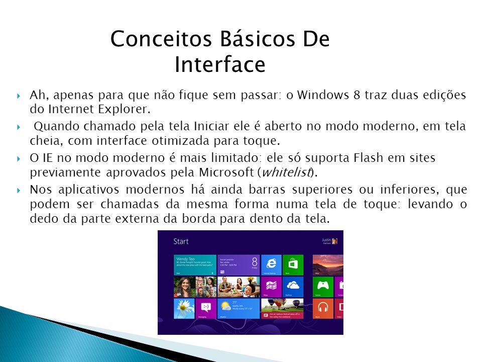 Ah, apenas para que não fique sem passar: o Windows 8 traz duas edições do Internet Explorer. Quando chamado pela tela Iniciar ele é aberto no modo mo