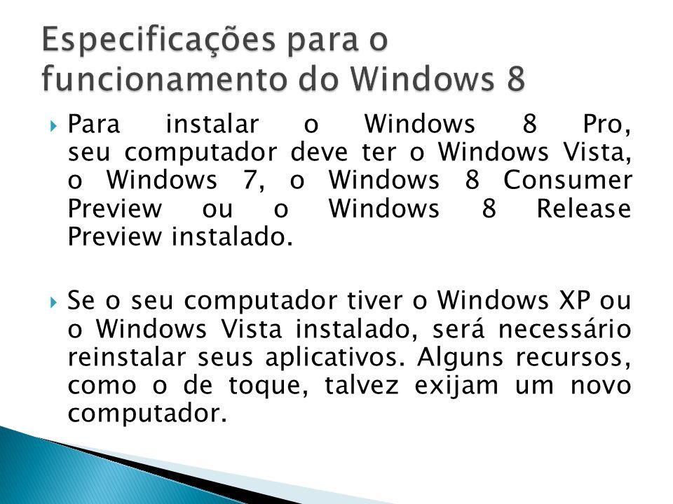 Para instalar o Windows 8 Pro, seu computador deve ter o Windows Vista, o Windows 7, o Windows 8 Consumer Preview ou o Windows 8 Release Preview insta