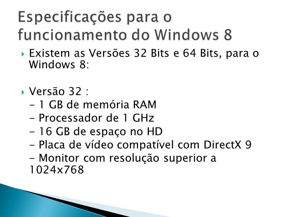 Existem as Versões 32 Bits e 64 Bits, para o Windows 8: Versão 32 : - 1 GB de memória RAM - Processador de 1 GHz - 16 GB de espaço no HD - Placa de ví