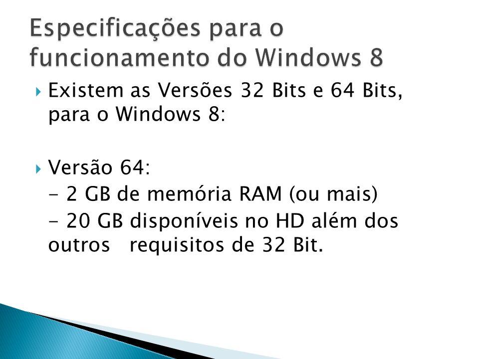 Existem as Versões 32 Bits e 64 Bits, para o Windows 8: Versão 64: - 2 GB de memória RAM (ou mais) - 20 GB disponíveis no HD além dos outros requisito
