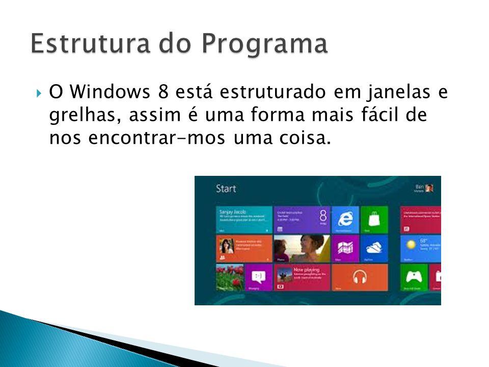 O Windows 8 está estruturado em janelas e grelhas, assim é uma forma mais fácil de nos encontrar-mos uma coisa.