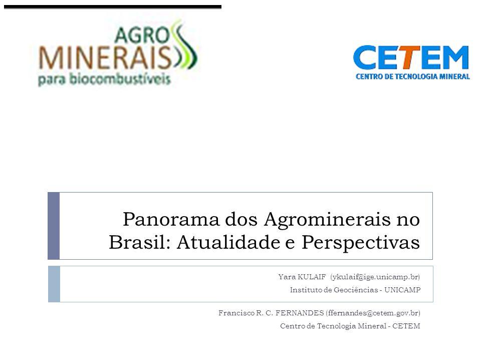 Panorama dos Agrominerais no Brasil: Atualidade e Perspectivas Yara KULAIF (ykulaif@ige.unicamp.br) Instituto de Geociências - UNICAMP Francisco R.