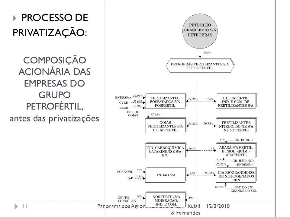 COMPOSIÇÃO ACIONÁRIA DAS EMPRESAS DO GRUPO PETROFÉRTIL, antes das privatizações 12/3/2010Panorama dos Agrominerais no Brasil - Kulaif & Fernandes 11 PROCESSO DE PRIVATIZAÇÃO: