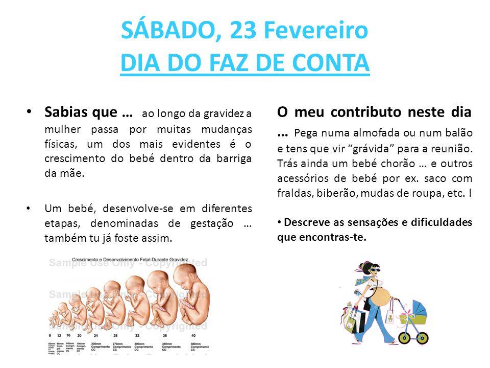 SÁBADO, 23 Fevereiro DIA DO FAZ DE CONTA Sabias que … ao longo da gravidez a mulher passa por muitas mudanças físicas, um dos mais evidentes é o cresc